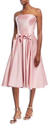 Zac Posen Strapless Double-Face Duchess Satin Tea-Length Cocktail Dress