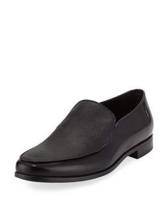 Giorgio Armani Grained & Smooth Leather Venetian Loafer, Black