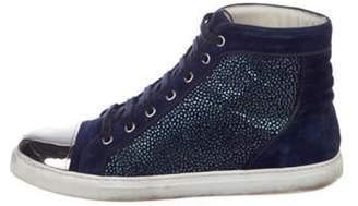 Louis Leeman Suede Cap-Toe Sneakers navy Suede Cap-Toe Sneakers