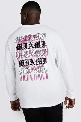 BoohoomanBoohooMAN Mens White Big & Tall Long Sleeve T-Shirt With Print, White