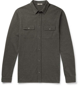 Bottega Veneta Garment-Dyed Cotton-Pique Shirt - Army green