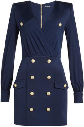 Balmain Draped Dress with Embossed Buttons