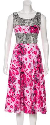 Duro Olowu Animal Print Midi Dress Pink Animal Print Midi Dress