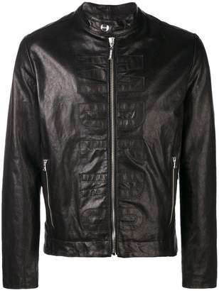 Dirk Bikkembergs logo leather jacket