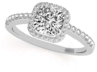 Palladium Allurez Cushion Cut, Square Diamond Halo Engagement Ring with Round Shank Accents in 0.50ct)