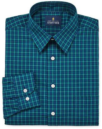 STAFFORD Stafford Travel Stretch Performance Super Shirt Long Sleeve Broadcloth Plaid Dress Shirt