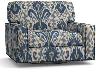 Pottery Barn Turner Square Arm Upholstered Swivel Armchair - Print and Pattern with Nailheads
