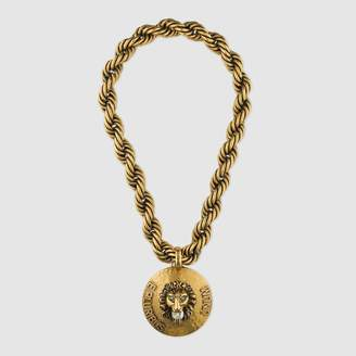 Lions head shopstyle free ground shipping at gucci gucci dapper dan lion head necklace aloadofball Choice Image
