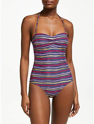 John Lewis & Partners Tulum Stripe Ruched Bandeau Swimsuit, Navy/Multi