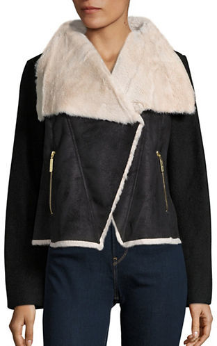 Betsey JohnsonBetsey Johnson Faux Fur and Faux Suede Wool Coat