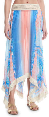 Ramy Brook Riviera Printed Handkerchief Long Skirt with Fringe