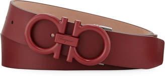 Salvatore Ferragamo Men's Matte-Gancini Leather Belt, Red