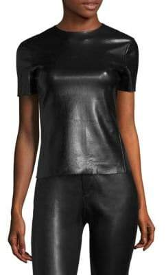 Helmut Lang Glassy Stretch Leather Tee