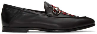 Gucci Black Embroidered Snake Loafers