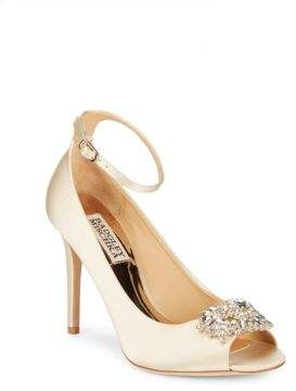 Badgley Mischka Kali Satin Ankle-Strap Pumps