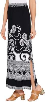 Susan Graver Regular Printed Liquid Knit Maxi Skirt