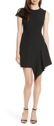 Milly Asymmetrical Ruffle Stretch Cady Dress