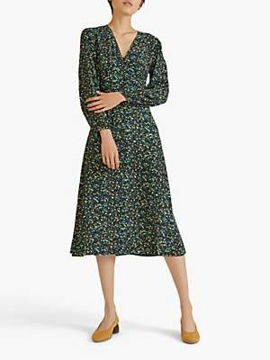 Jigsaw Modern Ditsy Tea Dress, Petrol