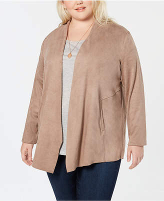 Style&Co. Style & Co Plus Size Faux-Suede Draped-Front Jacket