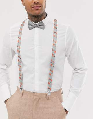 5609d7d338ba Asos Design DESIGN braces and bow tie set in grey floral and plain