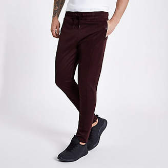 River Island Concept dark red slim fit tracksuit bottoms