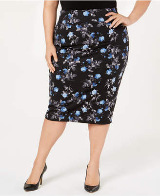 Alfani Plus Size Printed Scuba Skirt