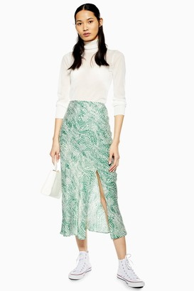 90e759a69984 Topshop TALL Green Wavy Animal Satin Bias Skirt