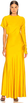 Calvin Klein Draped Asymmetric Sleeve Maxi Dress