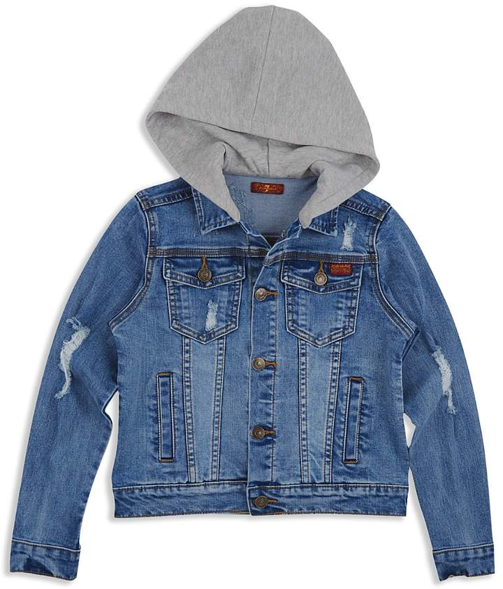 Boys' Distressed Denim Jacket with Knit Hood - Big Kid