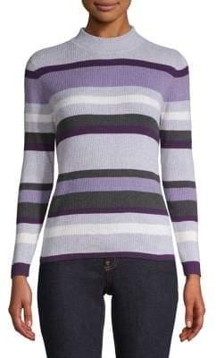 Karen Scott Petite Striped Cotton Sweater