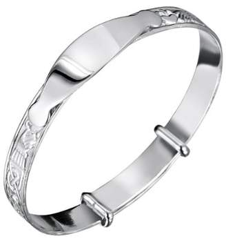 Jo for Girls Sterling Silver Expanding Claddagh Id Bangle