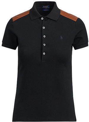 Polo Ralph Lauren Skinny Leather-Trim Polo $145 thestylecure.com