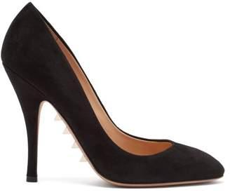 Valentino Rockstud Embellished Suede Pumps - Womens - Black
