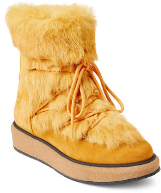 Paloma Barceló Yellow Real Fur Suede Platform Booties