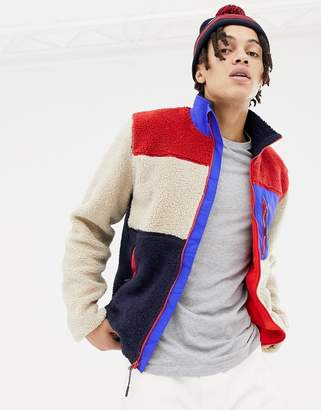 Penfield Mattawa color block borg and nylon fleece jacket in beige multi