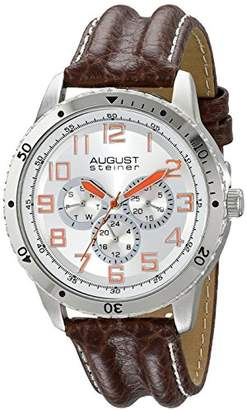 August Steiner Men's AS8116SS Silver Quartz Watch with Silver Dial and Brown with White Stitching Leather Strap