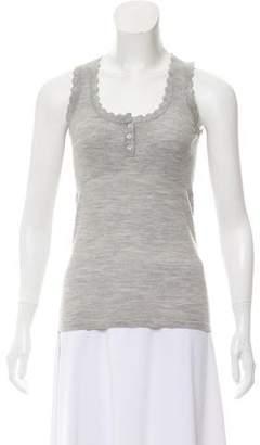BCBGMAXAZRIA Wool Scallop-Trimmed Top