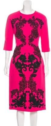 Dolce & Gabbana Short Sleeve Midi Dress Fuchsia Short Sleeve Midi Dress