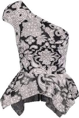 Roland Mouret Rodmell One-Shoulder Asymmetric Fil Coupé Cotton And Silk-Blend Peplum Top
