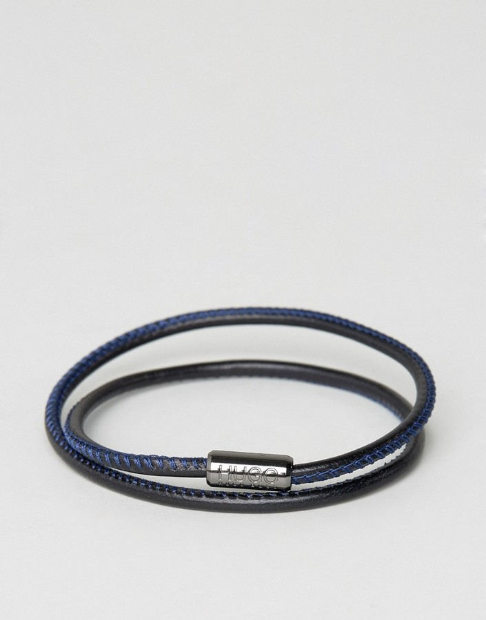 Hugo Boss BOSS by Hugo Boss Leather Wrap Bracelet In Black/Blue