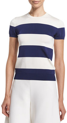 Ralph Lauren Collection Cap-Sleeve Wide-Striped Top, Royal Navy/White $790 thestylecure.com