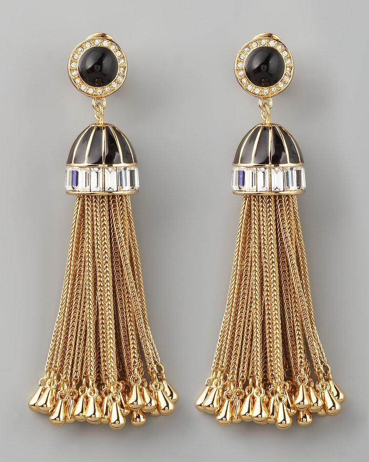 Rachel Zoe Rhinestone Tassel Drop Earrings