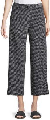 Theory Straight-Leg Fluid Silk Box-Tile Crepe de Chine Cropped Pants