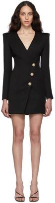 Balmain Black Wool Cache-Coeur Short Dress
