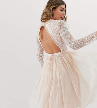 Needle & Thread embellished long sleeve midi dress with tulle skirt in rose quartz