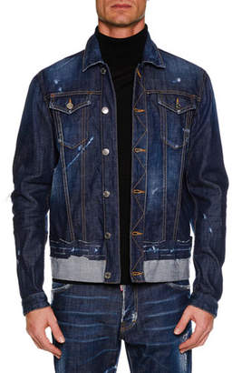 DSQUARED2 Men's Button-Front Distressed Denim Jacket w/ Contrast Hem
