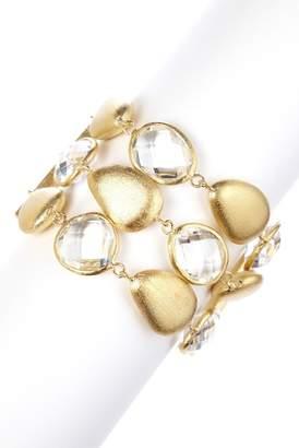 Rivka Friedman Three Row Faceted Rock Crystal & Satin Pebble Toggle Bracelet