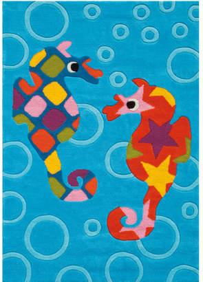 Blue Seahorse Designer Kids Rug