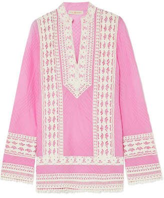 Tory Burch Rachel Crochet-trimmed Cotton-canvas Tunic
