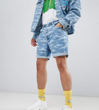 The Simpsons Asos Design x ASOS DESIGN denim shorts with cloud burnout